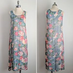 vintage 90's sheer textured floral midi sun dress